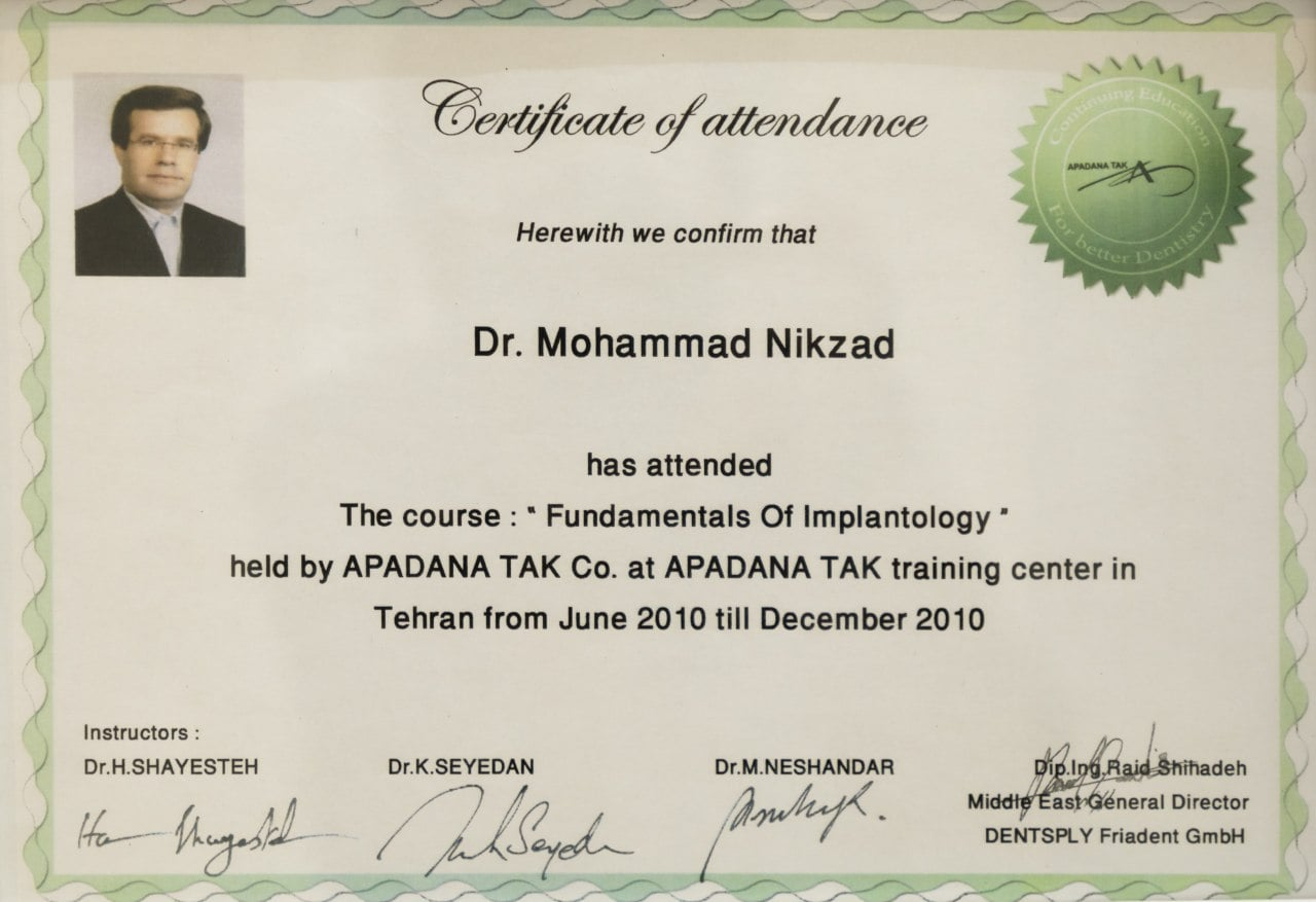 گواهی تخصص ایمپلنت دکتر محمد نیک زاد